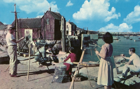 Art class, circa 1961, postcard courtesy of the  blog vintagerockport.com